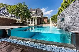 Patio Swimming Pool Ideas With Glass Edge Relaxing Swimming Pools Patio  Ideas Application Exterior Design Garden ...