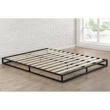 full size inch low profile metal platform bed frame with wooden