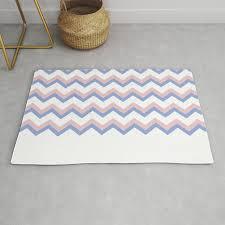 blue pink chevron rug
