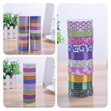 <b>10pcs Glitter Washi</b> Sticky Paper <b>Masking</b> Adhesive <b>Tape</b> Label DIY ...