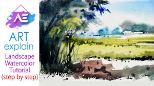 watercolor landscape painting bamboo tree how to paint a watercolor landscape art explain