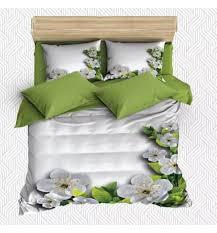 else 6 piece white floor on green leaves flowers 3d print cotton satin double duvet cover