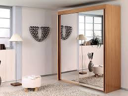 Brown Wood Mirror Sliding Door Wardrobes Amazing Frame High Durable Quality  Stunning Bedroom Furniture