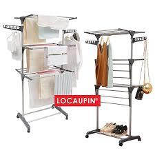 Locaupin <b>3 Tier</b> Grey Colour Foldable Drying <b>Rack Clothes Rack</b> ...