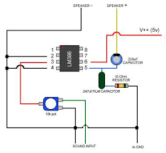 how to wire up lm386 amp for audio the 5v is marginal v in be better provided it isn t > v max and doesn t drag down your supply during loud hi volume periods something to worry
