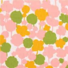 Off White Kokka Fabric Light Pink Green Yellow Flower Silhouette