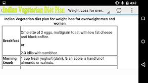 Indian Veg Diet Chart For Weight Loss For Female Amazon Com Indian Vegetarian Weight Loss Appstore For Android