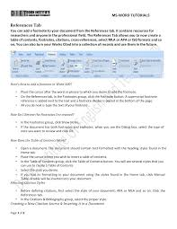 How To Use Reference Tab In Ms Word 2007 Docsity