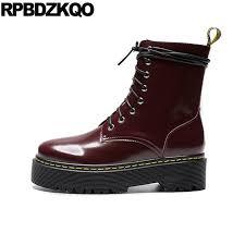women harajuku platform flatform ankle combat military wine red patent leather shoes in elevator flat side