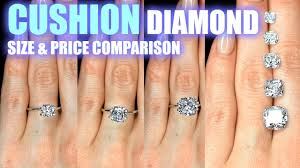 Cushion Cut Diamond Size Comparison On Hand Finger Engagement Ring Shaped 1 25 Carat 2 Ct 1 3 5 3