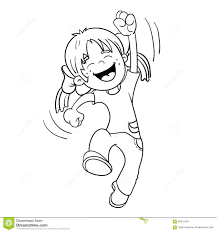 Small Picture Coloring Page Outline Of A Jumping Girl Stock Vector Image 60973104