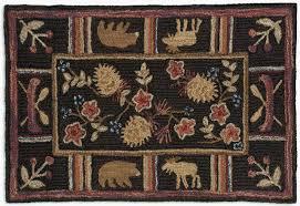 night moose 2 x 3 hand hooked wool rug