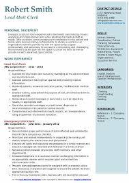 Hospital Unit Clerk Resume Unit Clerk Resume Samples Qwikresume