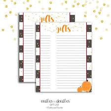 Printable Bridal Shower Gift List Template Fall Baby Shower Gift List Pumpkin Baby Shower Fall Bridal