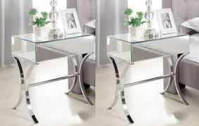 Mirrored Furniture Pair Barcelona Mirrored Bedside Tables 1 Drawer With Chrome