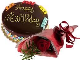 Send Rainbow Chocolate Cake Flower Gift Combo To Dubai Courier