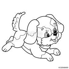 coloring page outline of cute puppy cartoon joyful dog jumping pet coloring book