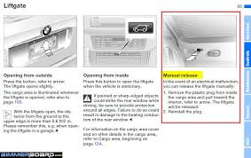 manual release for tailgate bimmerfest bmw forums manual unlock procedure for the upper liftgate lower tailgate