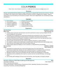 Resume Visual Merchandising Resume