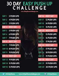 30 Day Easy Push Up Challenge 30 Day Challenges