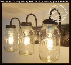 Mason Jar Vanity Light NEW Quart Trio