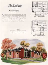 mid century modern house plans. 1952 National Plan Service - Belville Mid Century Modern House Plans O