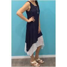 Missy Q Contrast Layered Dress Navy