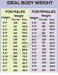 Ideal Body Weight For Males For Females Weight Height Weight