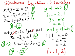 simultaneous equations 3 variables math simultaneous equations solving systems of linear equations in three variables showme