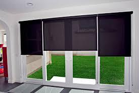 black patio door roller shades