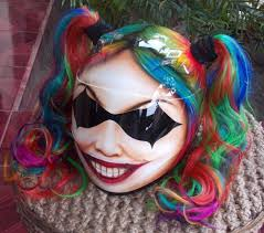 girls helmet harley quinn ponytails rainbow cute y for her