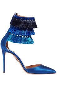 Blue Designer Heels Claudia Schiffer Loulous Tasseled Satin Pumps