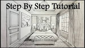 bedroom drawing one point perspective. Plain Perspective How To Draw A Bedroom In One Point Perspective  Step By Drawing YouTube