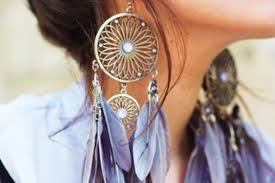 Dream Catcher Earing New Jewels Earrings Feathers Large Earrings Gold Flower Shape The