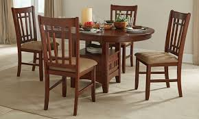 mission oak round pedestal dining set
