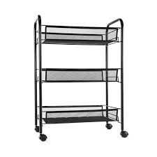 office rolling cart. Mesh Storage Rolling Cart W/ 3 Tier Shelf Trolley Home Office Organizer  Black Office Rolling Cart R