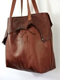 leather tote bag cognac brown soft handmade overnight women s purse with rustic branding