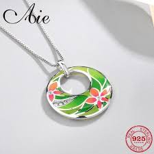 and no 5 8g diy gift round shape 925 sterling silver flower patterns clear cz green enamel fine necklace