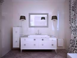 Sconces Bathroom Magnificent Glossy White Furniture In Bathroom Modern Style Shiny Walls