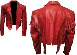 women red leather jacket with fringe zoom helmet
