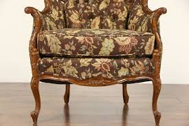 Carved Music Motif Wing Chair, 1940's Vintage, New Upholstery ...