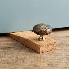 antique labrador granite stone oak wedge door stop