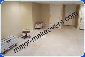bare concrete floor before tile installation in basement burr ridge