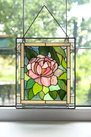 stained glass wall hangings panel window hanging peony image 0 round stained glass wall hangings