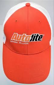 Autolite Spark Plugs Nascar Promo Hat Orange W White Mesh Nu