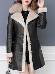 women faux fur collar fleece lined long sleeve warm leather jacket with belt