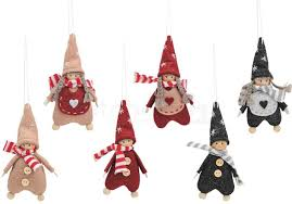 Wichtelkinder Christbaumschmuck Deko Hänger Textil Holz 6er Set Sort 8 Cm Matches21