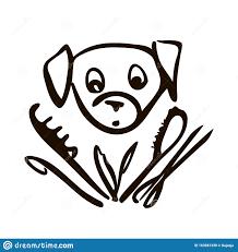 Cute Dog Head Line Art Drawing Stock ...
