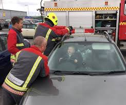 locked car. Toddler Really Enjoys Being Rescued By Firemen From Locked Car