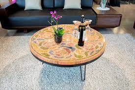 pretty wood art decorative coffee table
